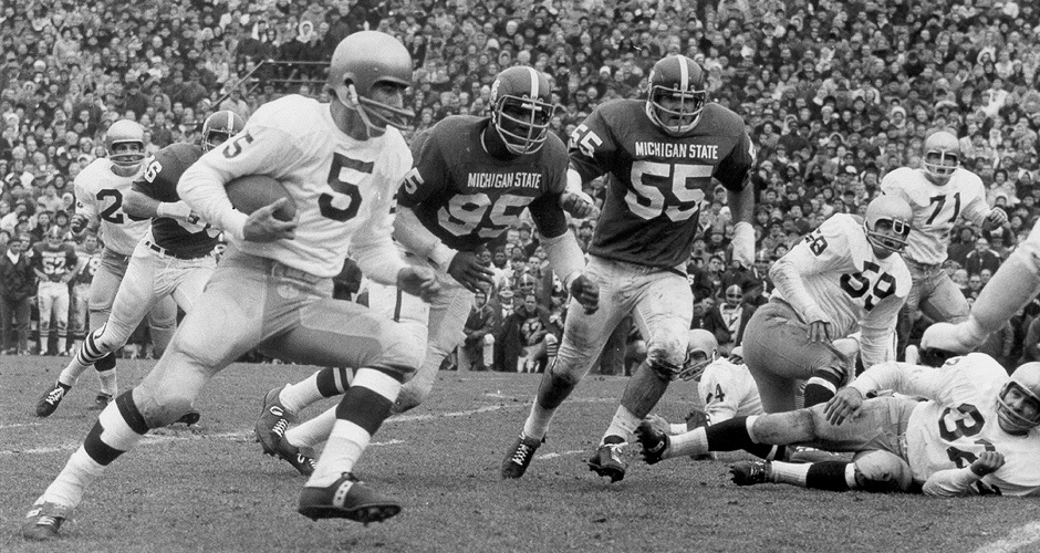 Bubba Smith (#95) chases Notre Dame QB, Terry Hanratty, in their epic 1966 matchup at Spartan Stadium.